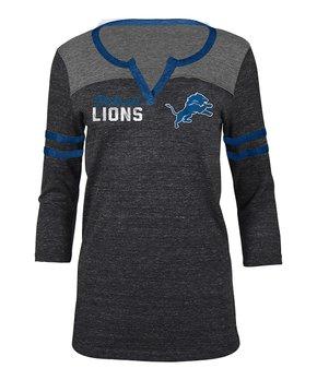 Detroit Lions Stripe-Sleeve Notch Neck Tee - Women
