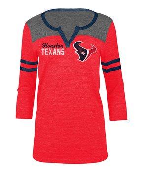 Houston Texans Stripe-Sleeve Notch Neck Tee - Women