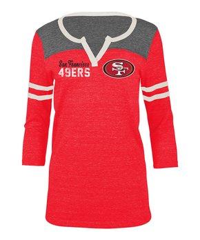 San Francisco 49ers Stripe-Sleeve Notch Neck Tee - Women