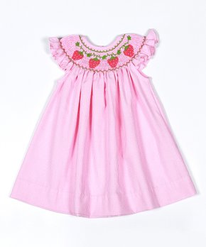 3acfc354a799 Classy Couture | Pink Hand-Smocked Strawberries Bishop Dress - Newbor…