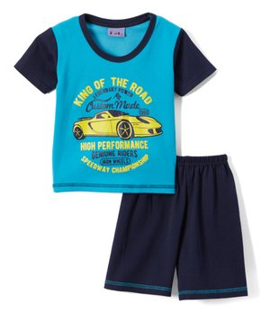 Sweet & Soft | Blue Race Car Tee & Shorts - Infant