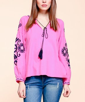 VELZERA | Pink Tassel-Tie V-Neck Top - Plus