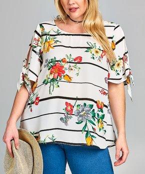 Celeste | White Floral Bell-Sleeve Top - Plus
