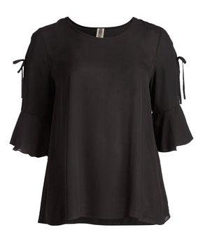 MOA Collection | Black Cutout-Sleeve Tunic - Plus