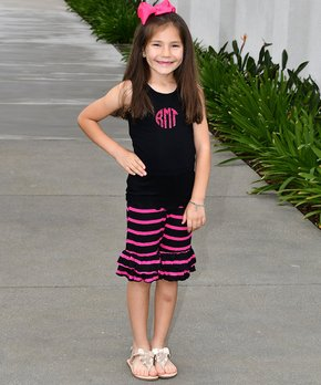 Ruby and Rosie   Black Monogram Tank & Ruffle Shorts – Infant, Toddler & Girls