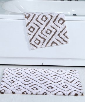 Affinity Home | Taupe Geometric Cotton Bath Rug - Set of Two