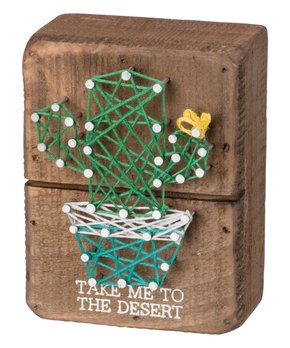 Primitives by Kathy | 'To the Desert' String Art Block Sign