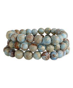 ZAD | Blue Jasper Three-Piece Stretch Bracelet Set
