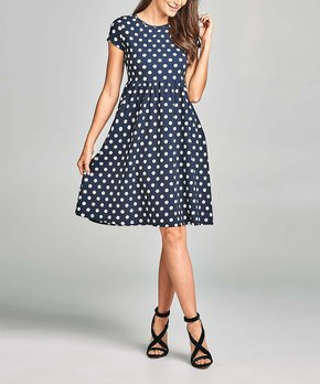 Paolino | Navy Dot A-Line Dress – Women