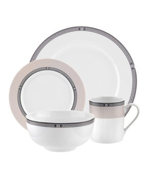 White \u0026 Beige Chic 16-Piece Dinnerware Set  sc 1 st  Zulily : white and black dinnerware - pezcame.com