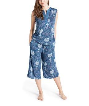 Ink&Ivy | Navy Paisley Capri Pajama Set – Women