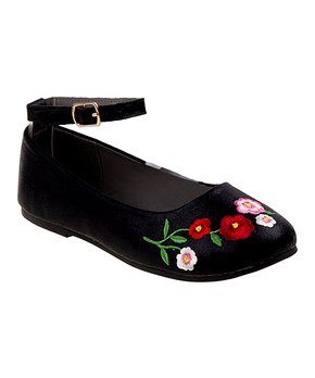 Rugged Bear | Black Floral Ankle-Strap Flat - Girls