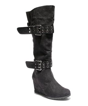 529280140 2 Lips Too | Black Too Nicole Wide Calf Wedge Boot - Women