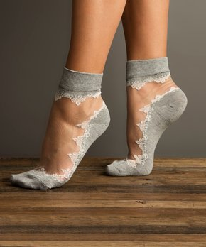 Lemon Legwear | Cement Sheer Ruffle Ankle Socks - ...