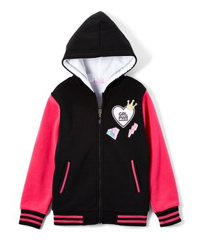 3dab2066326e8 miniMOCA | Black 'Grl Power' Varsity Jacket - Girls