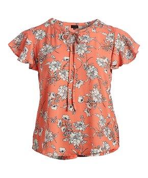 Zenobia | Coral Floral Tie-Neck Ruffle-Sleeve Top - Plus