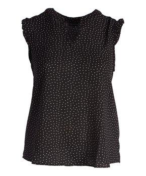Tua | Black Floral V-Neck Swing Top - Plus