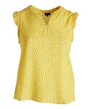 Zenobia | Yellow Polka Dot Notch Neck Tank - Plus