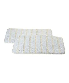 Affinity Home | White Stripe Elegance Spa Cotton Memory Foam Bath Rug Set