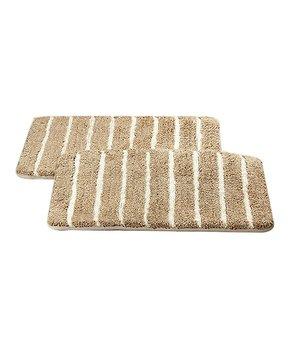 Affinity Home | Taupe Stripe Elegance Spa Cotton Memory Foam Bath Rug Set