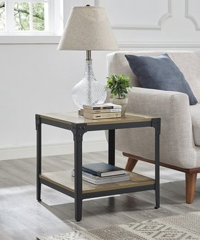 Walker Edison | Angle Iron & Wood End Table - Set of Two