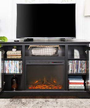Walker Edison | Black Highboy Fireplace Wood TV Console