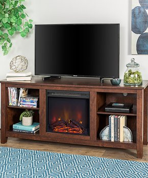 Walker Edison | Brown Fireplace Wood TV Console