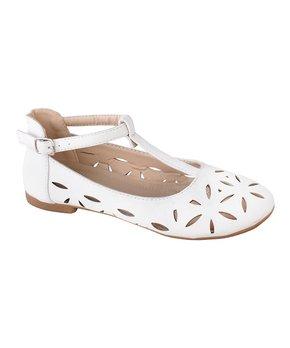 Belladia | White Eyelet Gilda T-Strap Flat - Girls