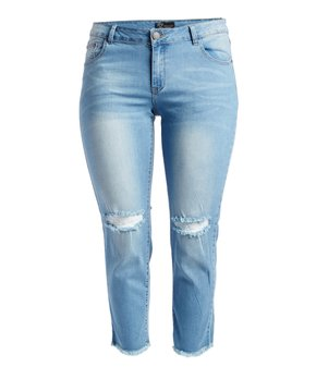 Rock and Royal | Light Blue Distressed-Knee Crop Jeans - Plus