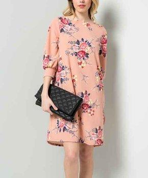 Mauve Floral Floral Shift Dress – Women