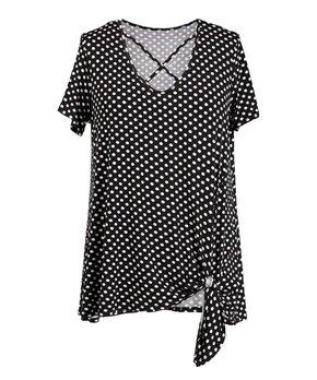 MOA Collection | Black & Beige Geometric Short-Sleeve Top - Plus