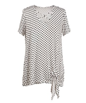 Fashionomics | Off-White Polka Dot Knot-Hem Crisscross V-Neck Top - Women & Plus