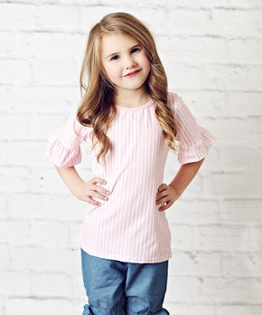 ee76b97911a Lollies and Lace Boutique | Pink Stripe Ruffle-Sleeve Tee - Newborn &…