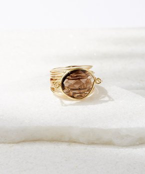 A Blonde and Her Bag | Smoky Quartz & Gold-Plated Torrey Ring