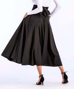 df1b940d39 Coeur de Vague | Black Pocket Slit-Accent Midi Skirt - Women