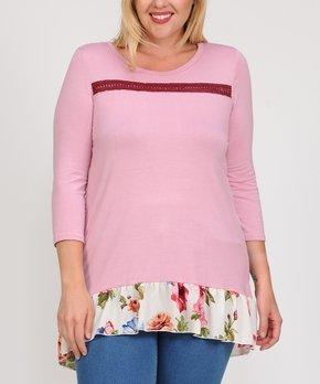 Celeste | Dusty Pink Floral Ruffle-Trim Hi-Low Tunic - Plus