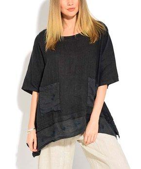 8bd61ec50e8 ... Side-Pocket Oversize Linen Scoop Neck Top - Women  … all gone