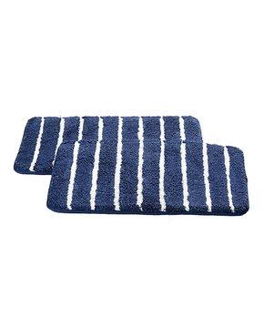 Affinity Home | Gray Stripe Elegance Spa Cotton Memory Foam Bath Rug Set