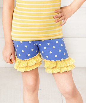 Matilda Jane Clothing | Blue & Yellow Day Camp Polka Dot Ruffle-Hem Shorts – Toddler & Girls
