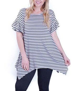 Hot Ginger | Navy & Ivory Stripe Handkerchief Tunic - Plus