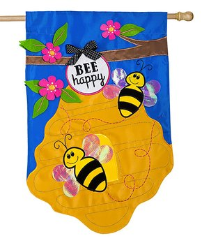 Evergreen | 'Bee Happy' Appliqué Outdoor Flag