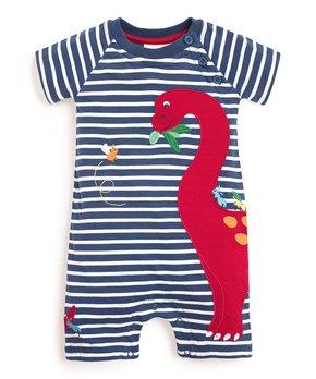 JoJo Maman Bébé | Indigo & White Stripe Dino Romper – Infant