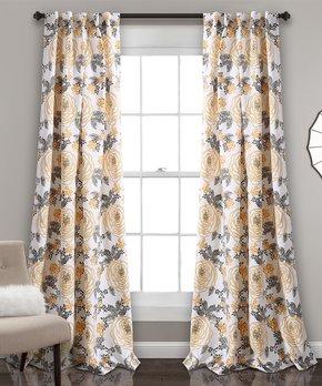 Lush Décor | Yellow & Gray Aromo Garden Room Darkening Curtain Panel Set