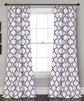 Duck River Textile | Blue Floral Gala Three-Piece Curtain Panel Set