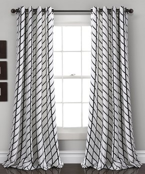 Lush Décor | White & Black Feather Arrow Geo Room Darkening Curtain Panel Set