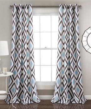 Lush Décor | White & Black Prima Color Block Curtain Panel - Set of Two