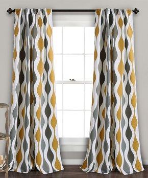 Lush Décor | Gold & Gray Mid-Century Geo Room Darkening Curtain Panel Set