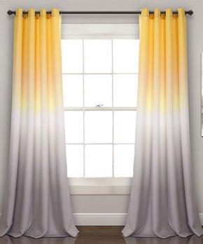 Lush Décor | Yellow & Gray Ombré Fiesta Room Darkening Curtain Panel Set!