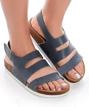 Moosefield | Dark Blue Tri-Strap Leather Sandal – Women