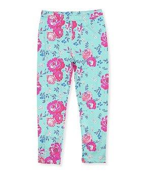 d9ee7e5ff9f5c0 Millie Loves Lily | Turquoise Floral Angel-Sleeve Dress & Stripe Legg… all  gone